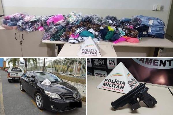 PM recupera carro e mercadorias roubadas no bairro Ressaca