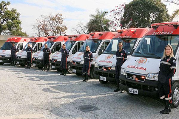 Novas ambulâncias do Samu entram em operação, em Contagem