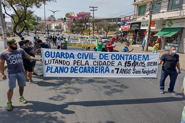 Guardas Civis de Contagem protestam pela melhoria da categoria