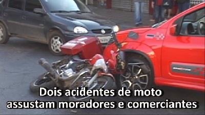 Dois acidentes de moto assustam moradores e comerciantes